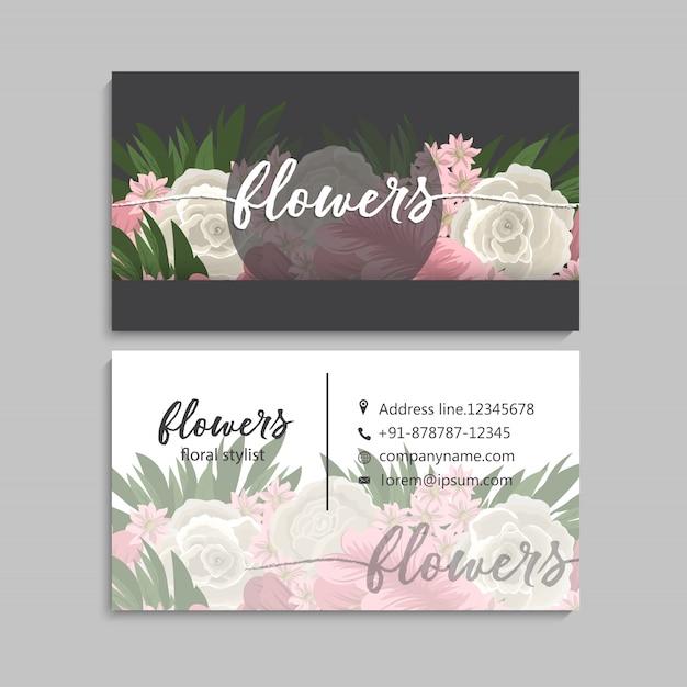 Blumengeschäftskarteschablonendesign Premium Vektoren