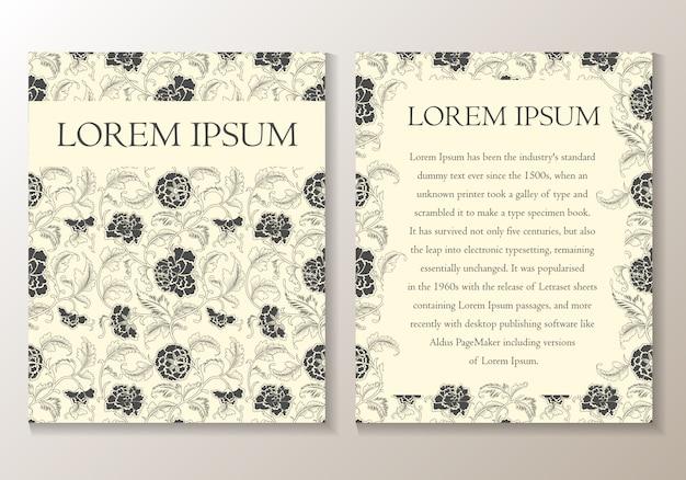 Blumengruß- oder einladungskarte. vorlage Premium Vektoren