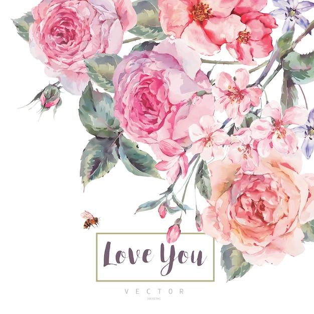 Blumengrußkarte der frühlingsweinlese mit blumenstrauß von rosen Premium Vektoren