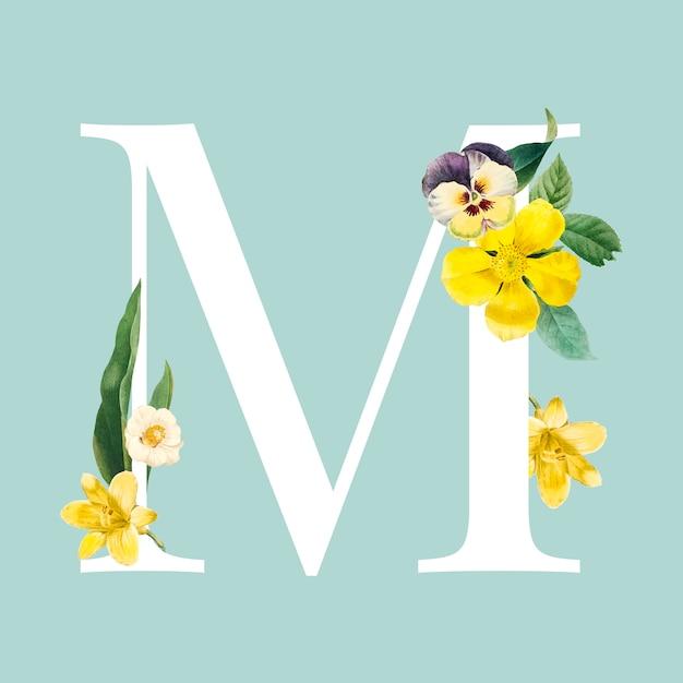 Blumenhauptvektor des buchstaben m Kostenlosen Vektoren