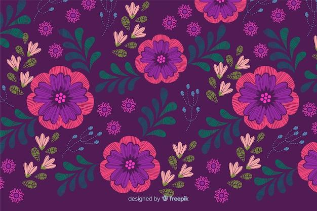Blumenhintergrund der bunten dekorativen stickerei Kostenlosen Vektoren