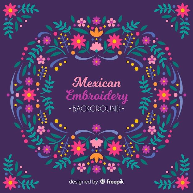 Blumenhintergrund der mexikanischen stickerei Kostenlosen Vektoren