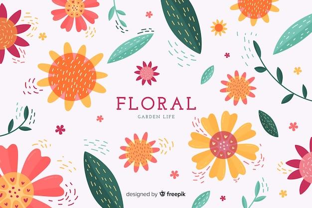 Blumenhintergrund des bunten flachen designs Kostenlosen Vektoren