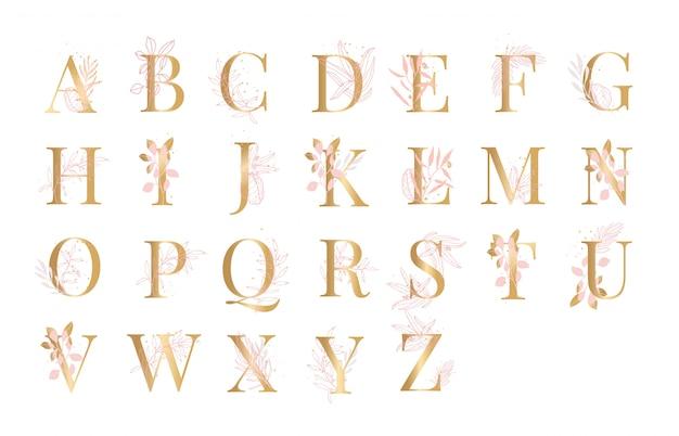 Blumenhintergrund-illustration vektor des goldenen alphabetes Premium Vektoren