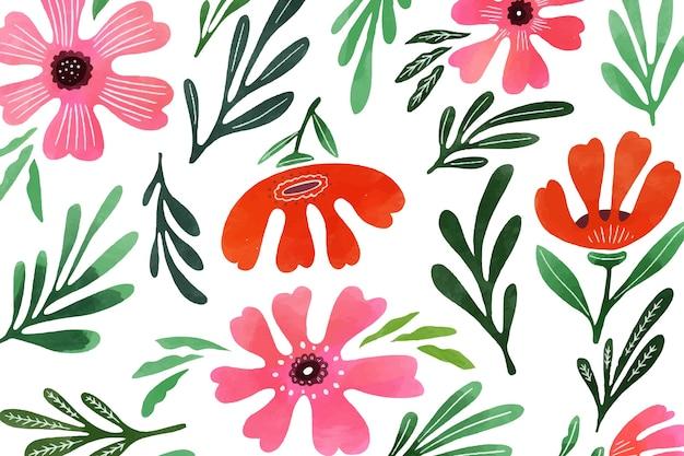 Blumenhintergrund im aquarellstil Kostenlosen Vektoren