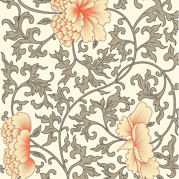 Blumenhintergrund in der chinesischen art Premium Vektoren
