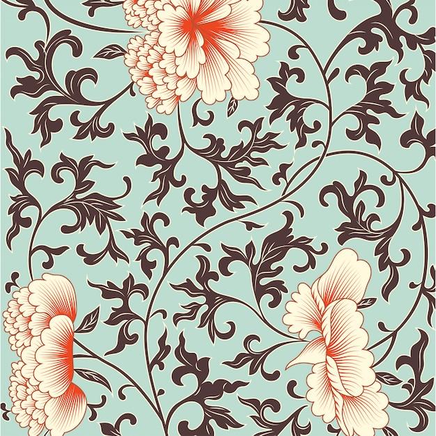 Blumenhintergrund in der chinesischen art. Premium Vektoren