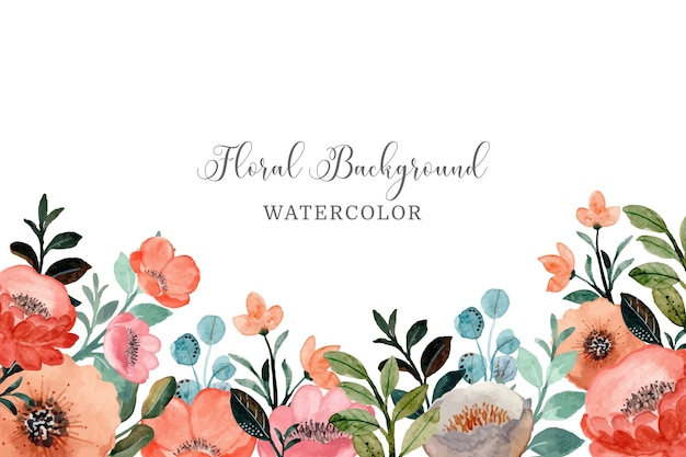 Blumenhintergrund mit aquarell Premium Vektoren