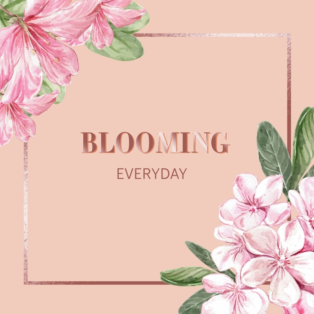 Blumenhintergrund mit feld Kostenlosen Vektoren