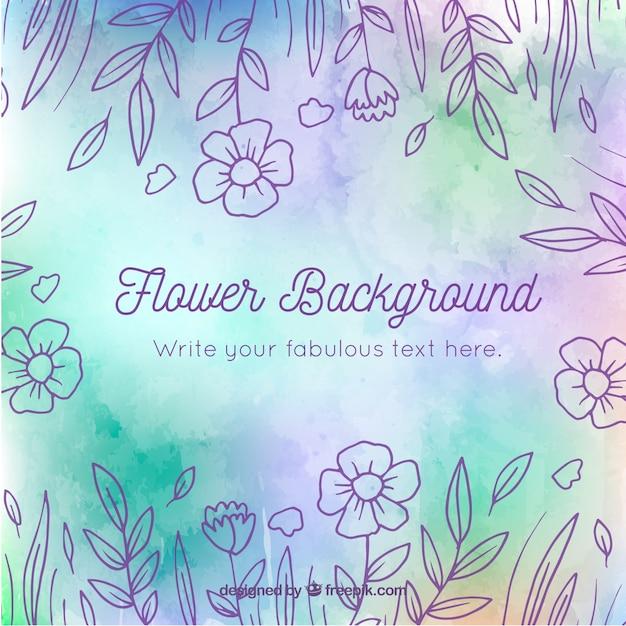 Blumenhintergrund mit hand gezeichneter art Kostenlosen Vektoren