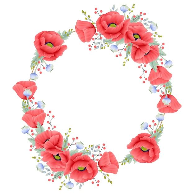 Blumenhintergrund mit mohnblume Premium Vektoren