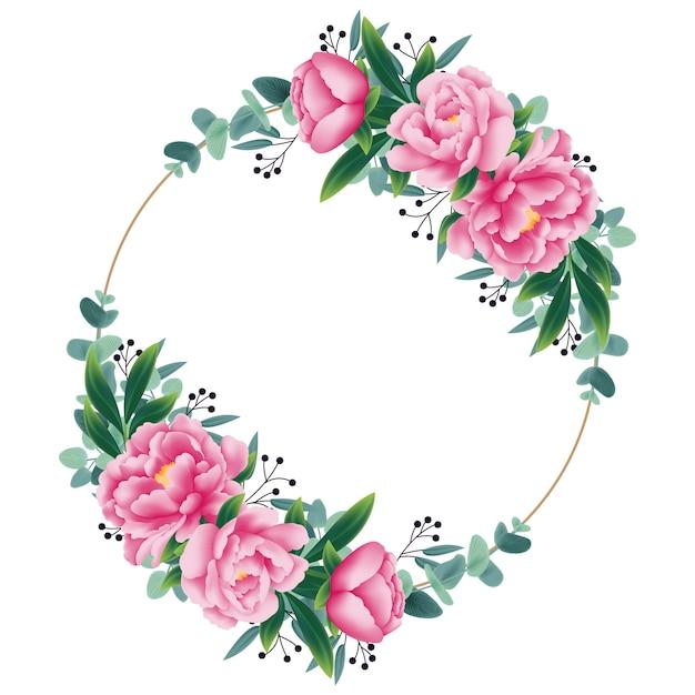 Blumenhintergrund mit pfingstrosenblume und eukalyptusblatt Premium Vektoren