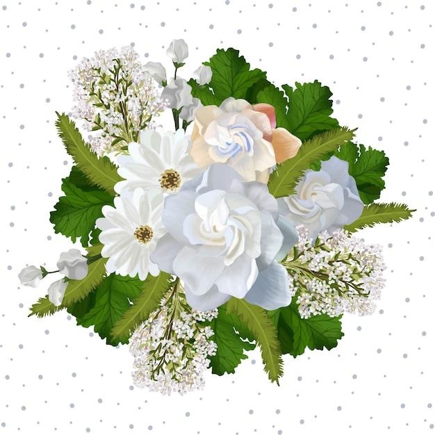 Blumenhintergrund mit schönen realistischen weißen blumen Premium Vektoren