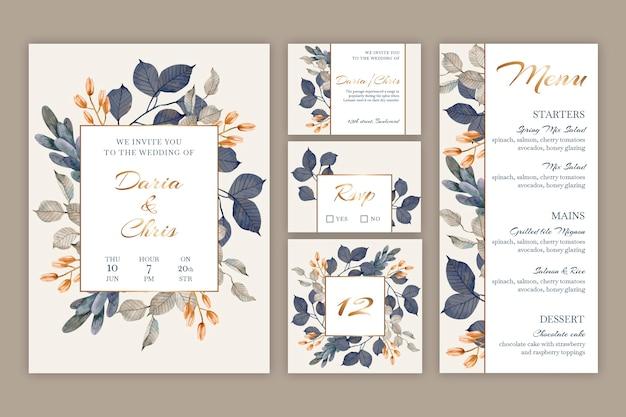 Blumenhochzeits-briefpapier-sammlung Kostenlosen Vektoren