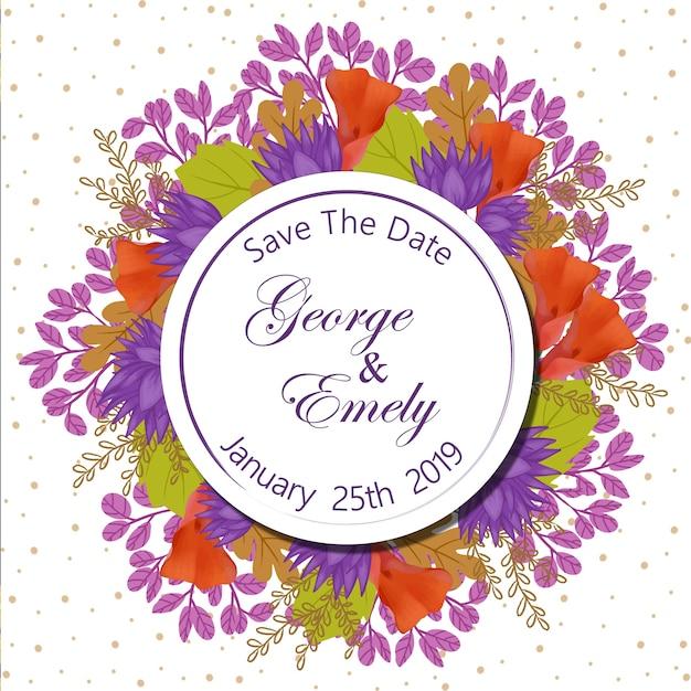 Blumenhochzeits-einladungs-abzeichen Premium Vektoren