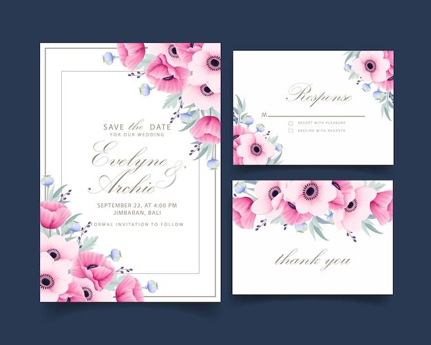 Blumenhochzeitseinladung mit anemonen- und mohnblumenblumen Premium Vektoren