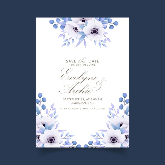 Blumenhochzeitseinladung mit anemonenblumen Premium Vektoren