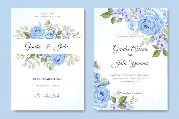 Blumenhochzeitseinladung mit blauen rosen Premium Vektoren
