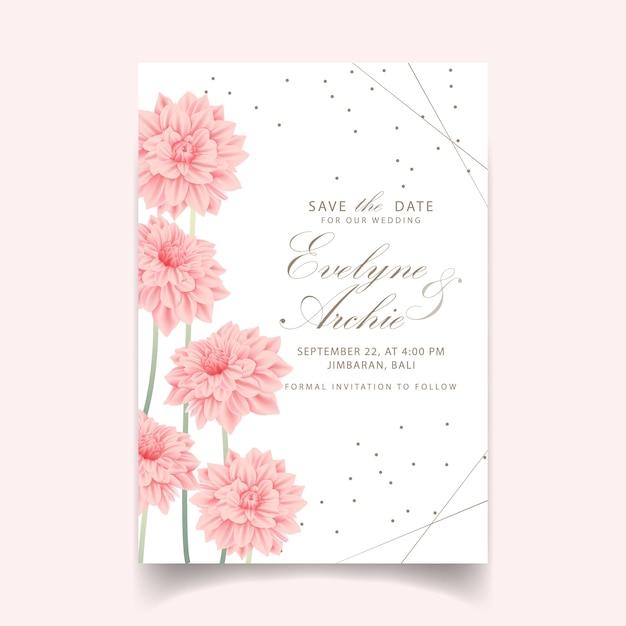 Blumenhochzeitseinladung mit dahlienblume Premium Vektoren