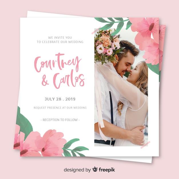 Blumenhochzeitseinladung mit foto Kostenlosen Vektoren