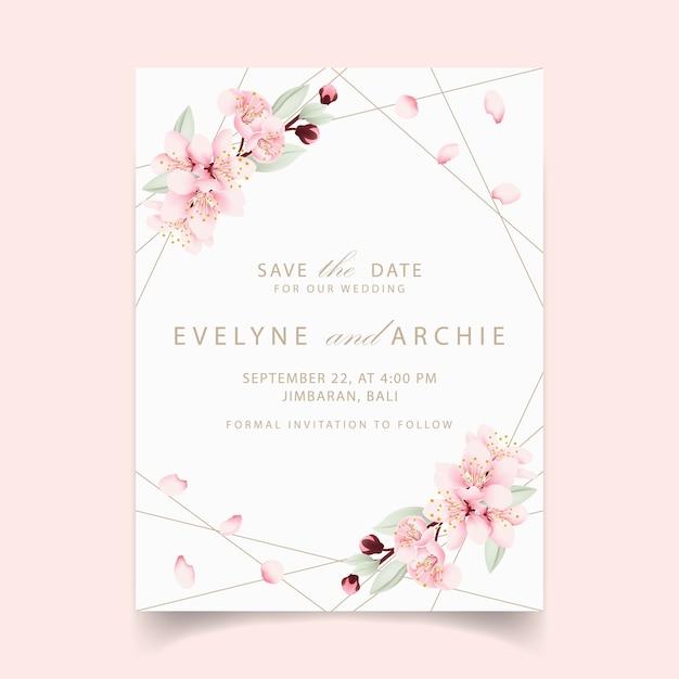 Blumenhochzeitseinladung mit kirschblüten Premium Vektoren