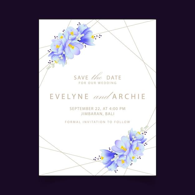 Blumenhochzeitseinladung mit krokusblumen Premium Vektoren