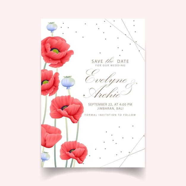 Blumenhochzeitseinladung mit mohnblume Premium Vektoren