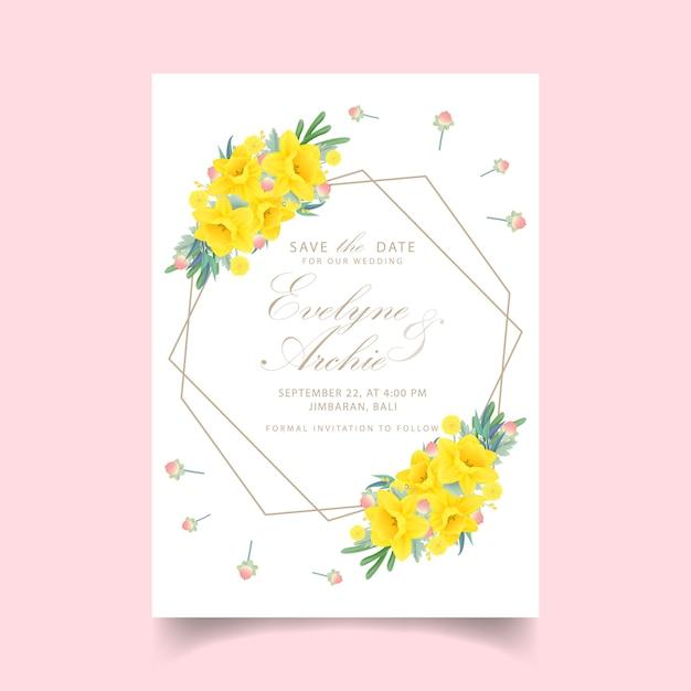 Blumenhochzeitseinladung mit narzissenblume Premium Vektoren