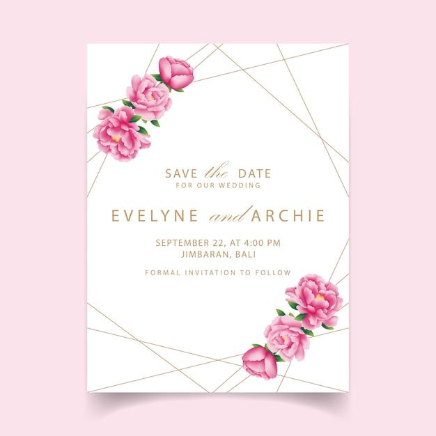 Blumenhochzeitseinladung mit pfingstrosenblume Premium Vektoren