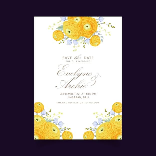 Blumenhochzeitseinladung mit ranunculusblume Premium Vektoren