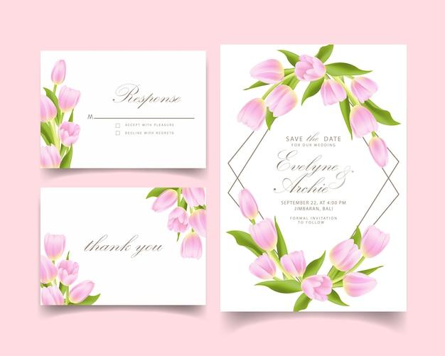 Blumenhochzeitseinladung mit rosa tulpenblume Premium Vektoren