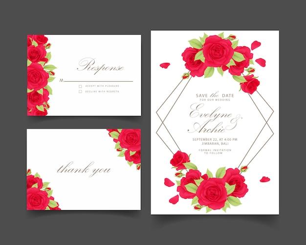 Blumenhochzeitseinladung mit rotrose Premium Vektoren