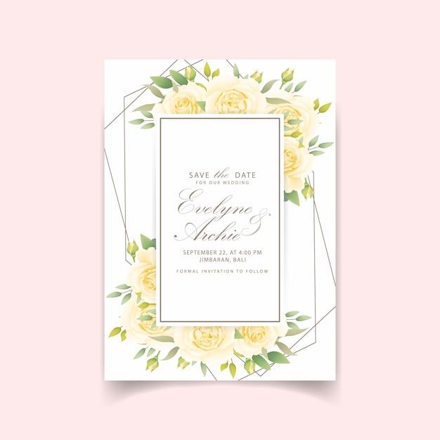 Blumenhochzeitseinladung mit weißer rose Premium Vektoren