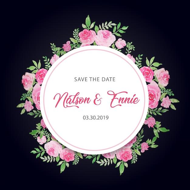 Blumenhochzeitseinladung speichern das datum Premium Vektoren