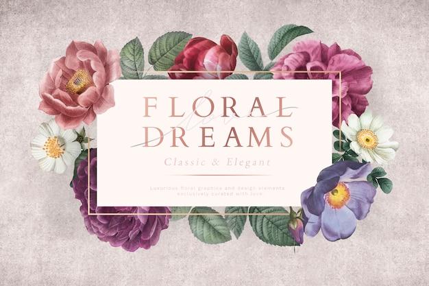 Blumenhochzeitseinladung Kostenlosen Vektoren