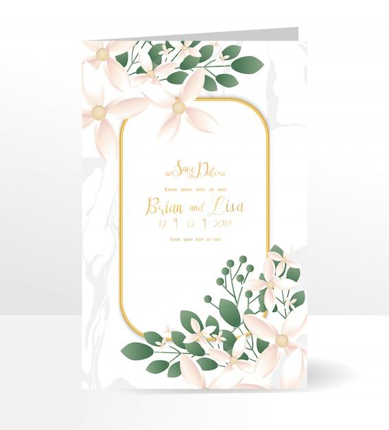 Blumenhochzeitseinladungs-kartenschablone mit schöner blumenart. Premium Vektoren