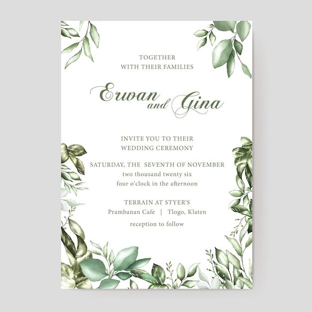Blumenhochzeitseinladungs-kartenschablone Premium Vektoren