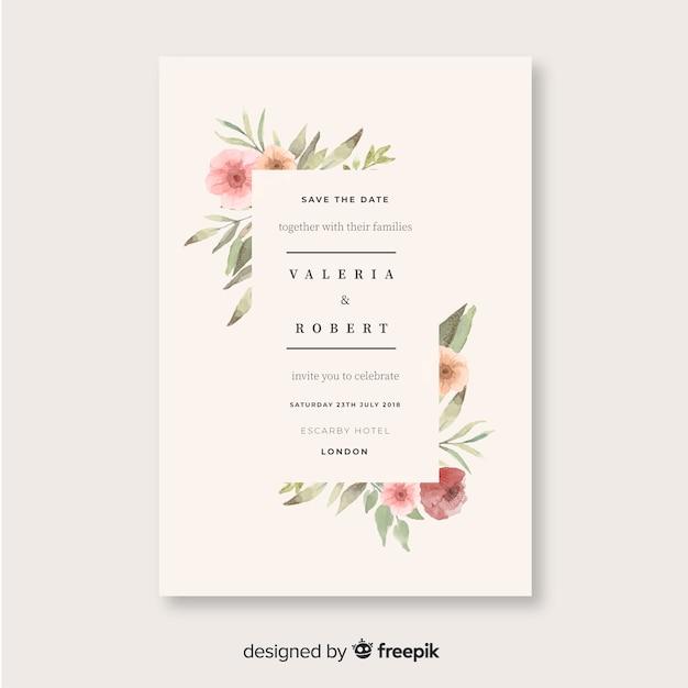 Blumenhochzeitseinladungs-kartenschablone Kostenlosen Vektoren