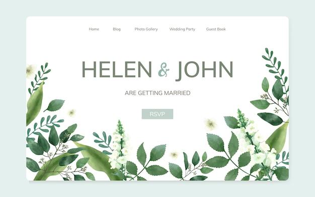 Blumenhochzeitseinladungs-websitedesign Kostenlosen Vektoren