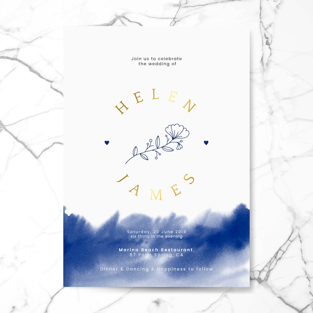 Blumenhochzeitseinladungskarten-designvektor Kostenlosen Vektoren