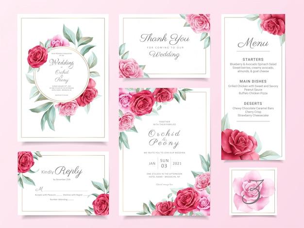 Blumenhochzeitseinladungskarten-schablonenreihe mit den roten und purpurroten rosen und den blättern Premium Vektoren