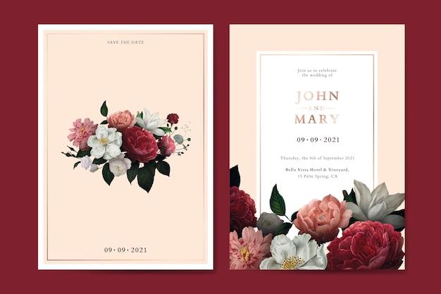 Blumenhochzeitseinladungskarten-schablonenvektor Premium Vektoren