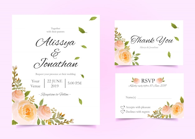 Blumenhochzeitseinladungskartenschablone Premium Vektoren