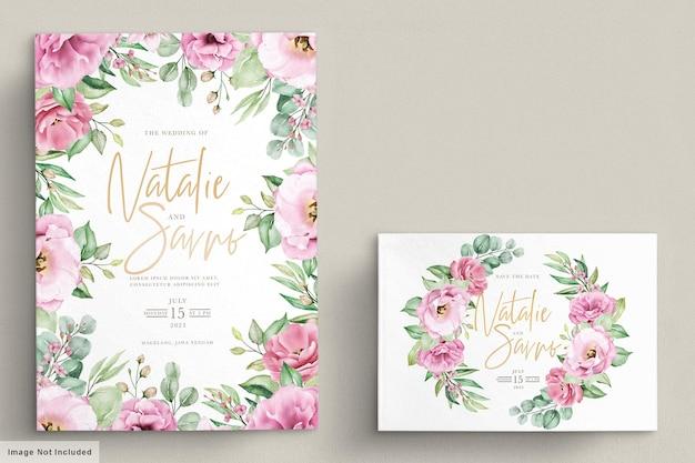 Blumenhochzeitseinladungsschablone gesetzt mit rosa rosenblumen und -blättern Kostenlosen Vektoren