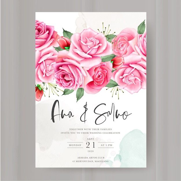 Blumenhochzeitseinladungsschablone Premium Vektoren