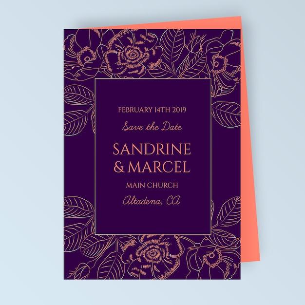 Blumenhochzeitskarte mit blumenschmuck Kostenlosen Vektoren