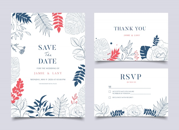 Blumenhochzeitskarte und -einladung Premium Vektoren