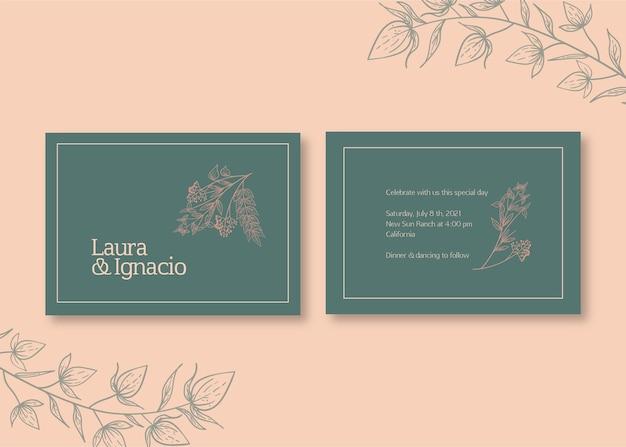 Blumenhochzeitskarte Kostenlosen Vektoren