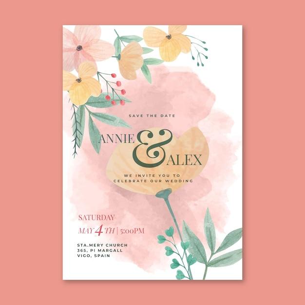 Blumenhochzeitskartenkonzept Kostenlosen Vektoren