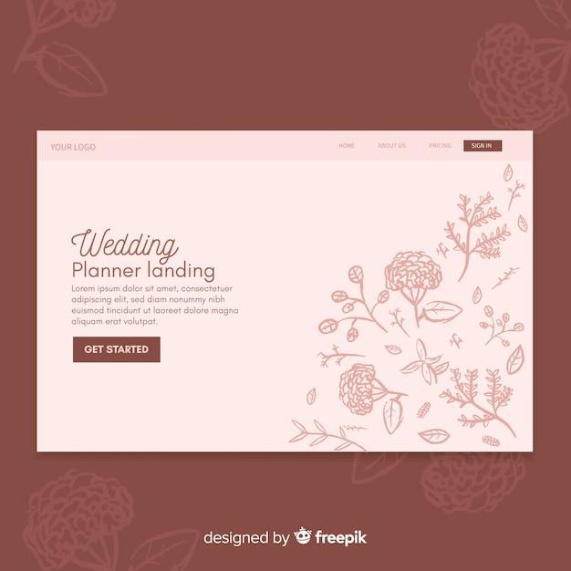 Blumenhochzeitslandungs-seitenschablone Kostenlosen Vektoren